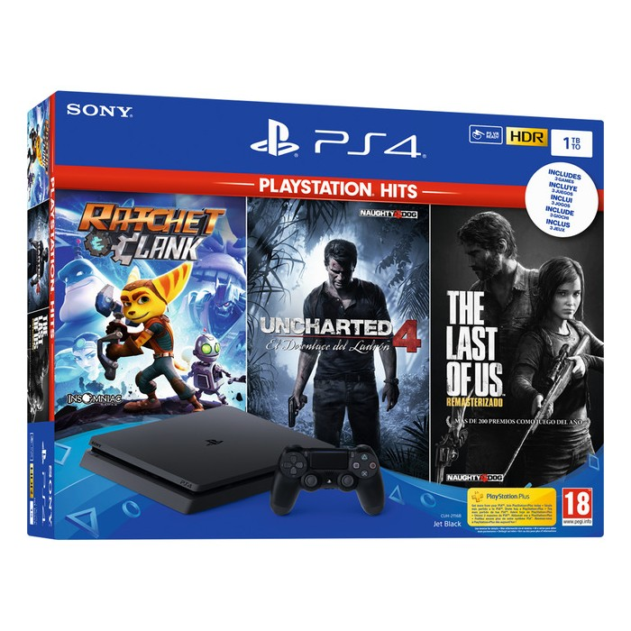 Consola PS4 Slim 1Tb+R&C+The Last of Us+Uncharted4