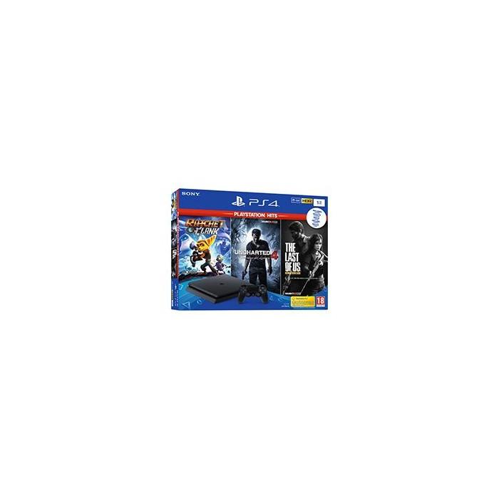 Consola PS4 Slim 1Tb+R&C+The Last of Us+Unchar4+NBA2K19