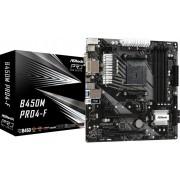 ASROCK B450M PRO4-F:(AM4) DDR4 HDMI DVI mATX
