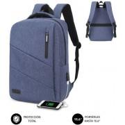 "Backpack SUBBLIM City Backpack 15.6"" Usb Blue (2BL2001)"