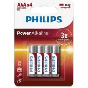 Batteries PHILIPS Alcalina AAA 1.5V Pack x4 (LR03P4B/05)