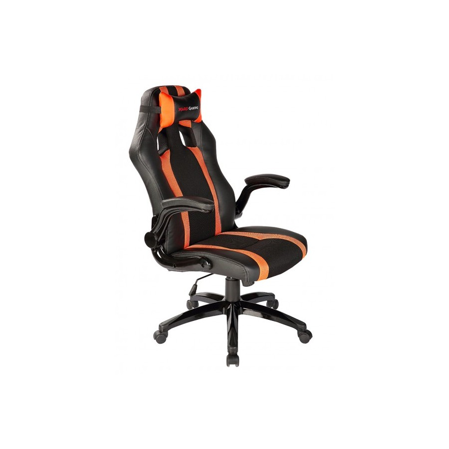 Silla tacens gaming negro naranja con brazos mgc2bo pc for Silla gaming con altavoces